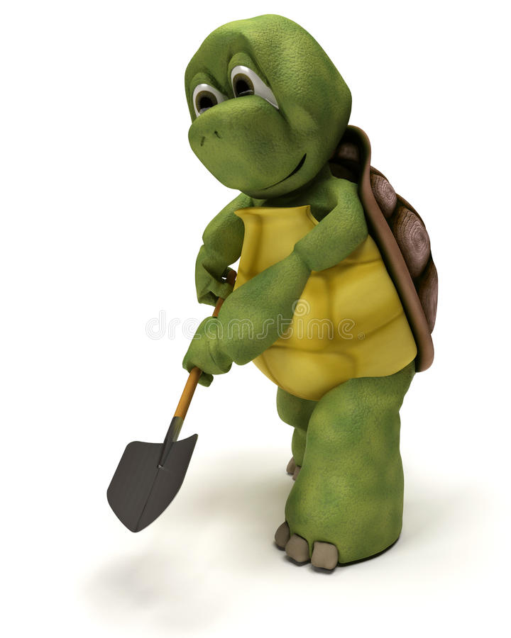 Tortoise with a spade vector illustration
