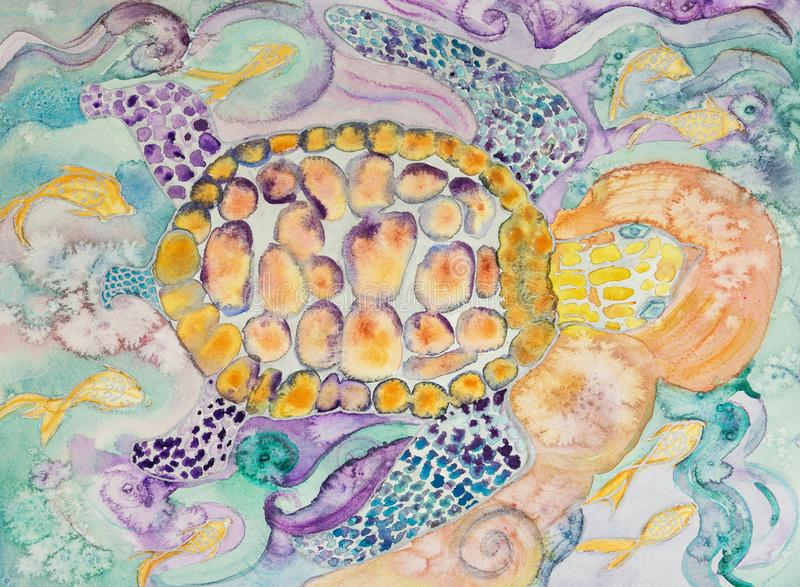 Tortoise swimming in paradise waters. The dabbing technique near the edges gives a soft focus effect due to the altered surface roughness of the paper vector illustration