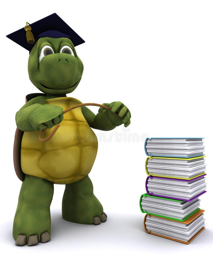 Tortoise teacher with a stack of books stock illustration
