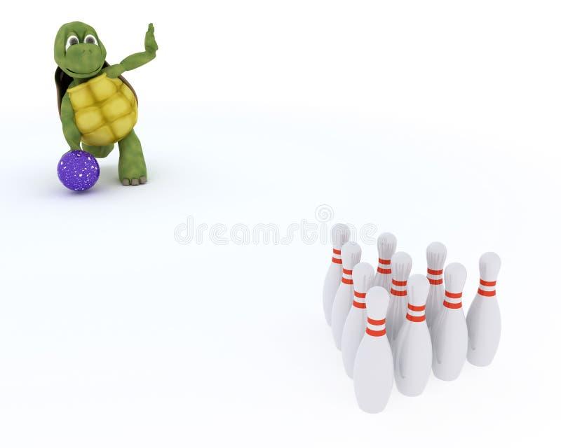 Tortoise ten pin bowling royalty free illustration