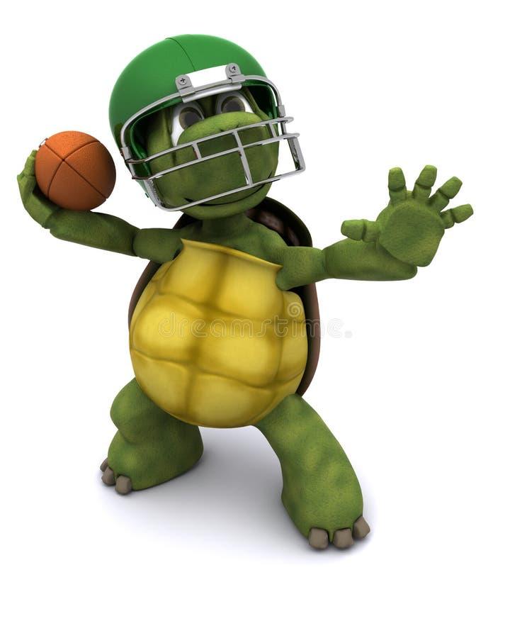 Tortoise throwing an american football royalty free illustration