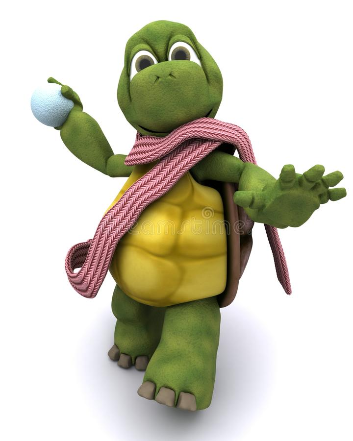 Tortoise throwing a snowball royalty free illustration