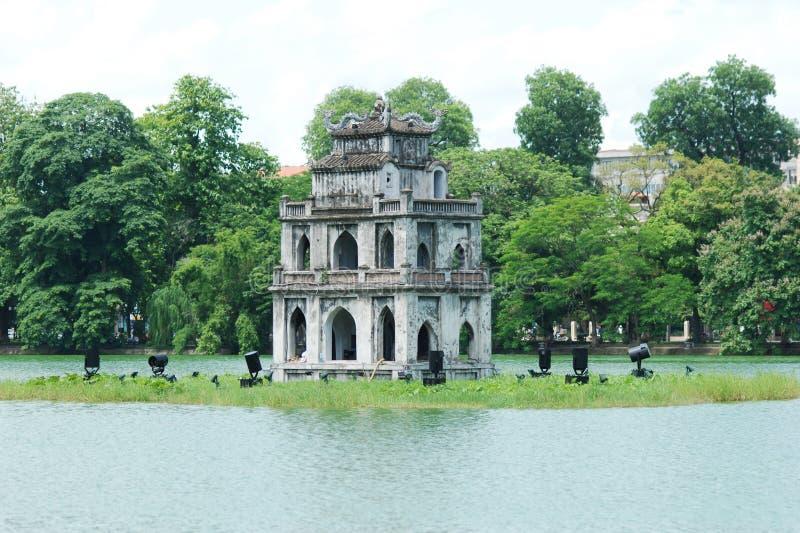 The Tortoise Tower in Hanoi stock images
