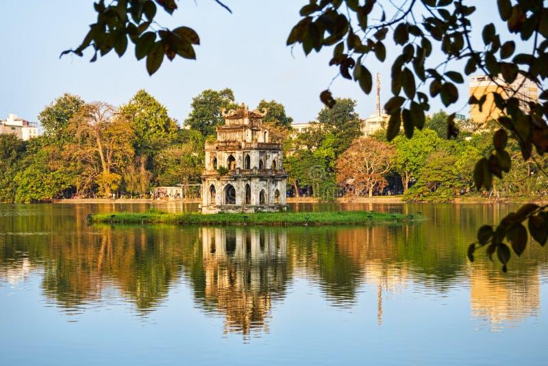 Tortoise Tower in Hoan Kiem Lake, Hanoi stock photography