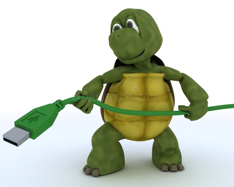 Tortoise with a usb cable royalty free illustration