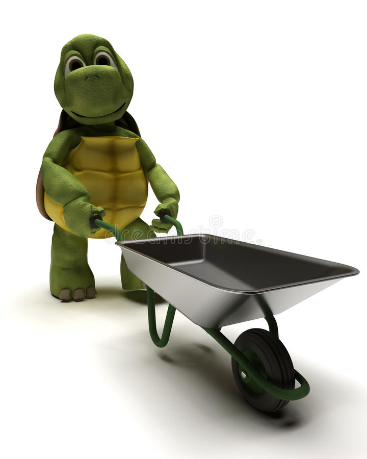 Tortoise With A Wheel Barrow Stock Images