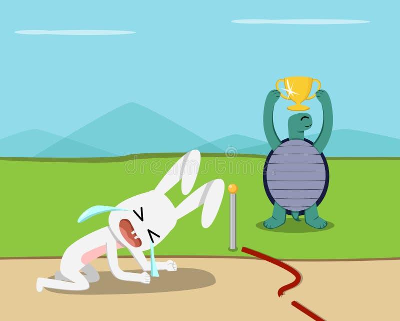 Tortoise wygrana, królik gubi przy metą, wektor royalty ilustracja