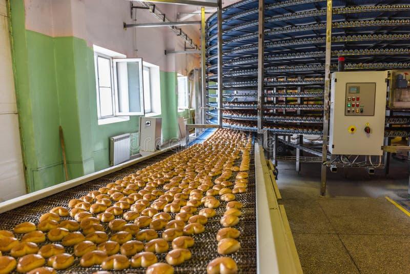 Tortowa fabryka, automatycznej konwejer linii maszynowy wyposażenie, przemysłowy ciasteczko warsztat, przemysł spożywczy zdjęcia royalty free