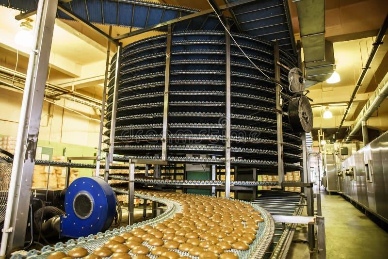 Tortowa fabryka, automatycznej konwejer linii maszynowy wyposażenie, przemysłowy ciasteczko warsztat, przemysł spożywczy obraz stock