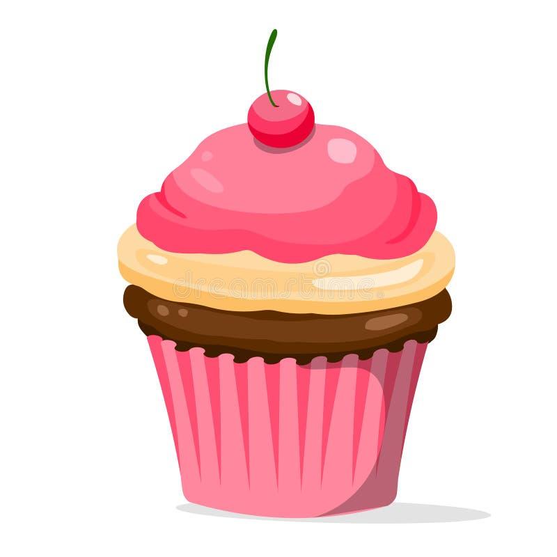 tortowa filiżanka Wektorowa ilustracja filiżanka tort z wiśnią ilustracji