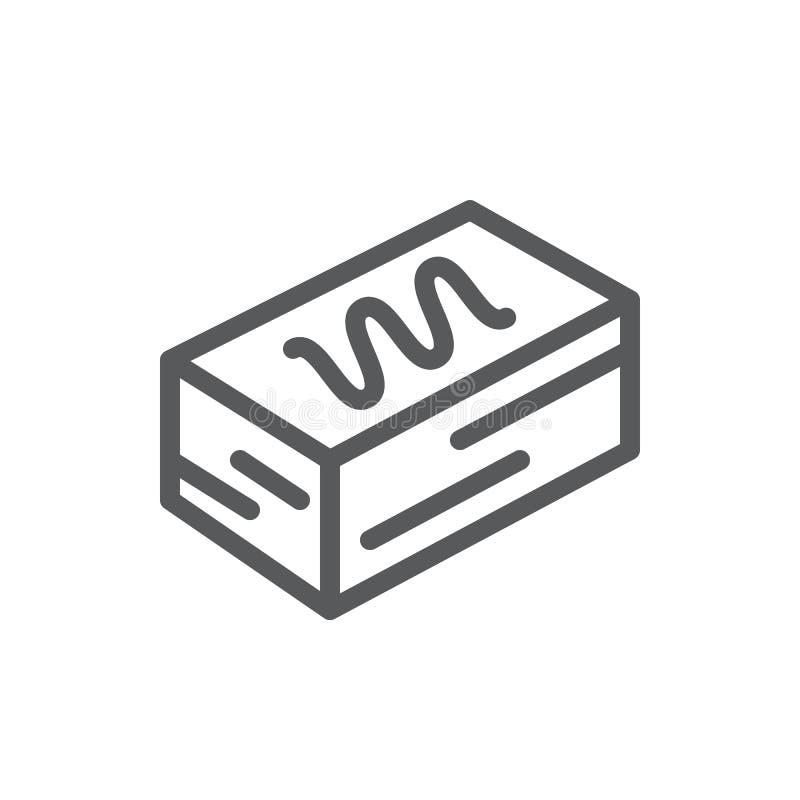 Tortowego kwadratowego kawałka piksla perfect ikona z editable uderzeniem - cukierki piec ablegrujący ciasto dekorował z glazerun ilustracja wektor