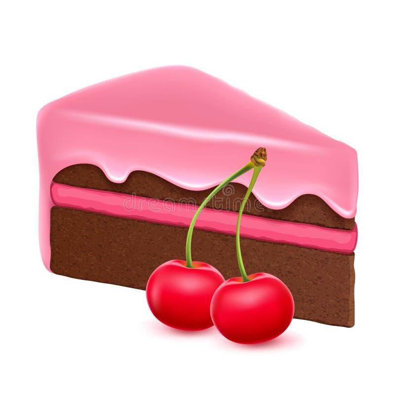 tortowy czereśniowy czekoladowy kawałek royalty ilustracja