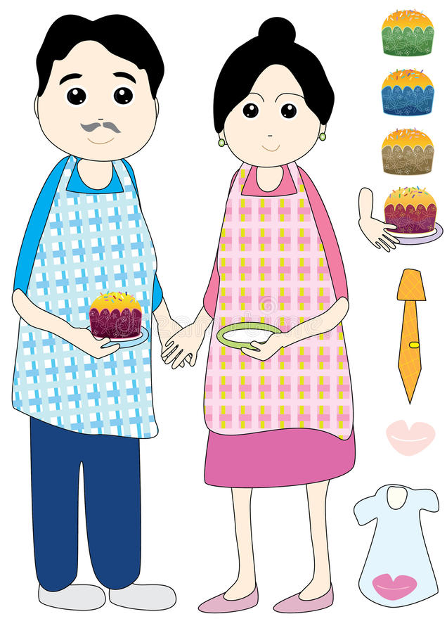 tortowy filiżanki eps ojciec robić matkuje royalty ilustracja