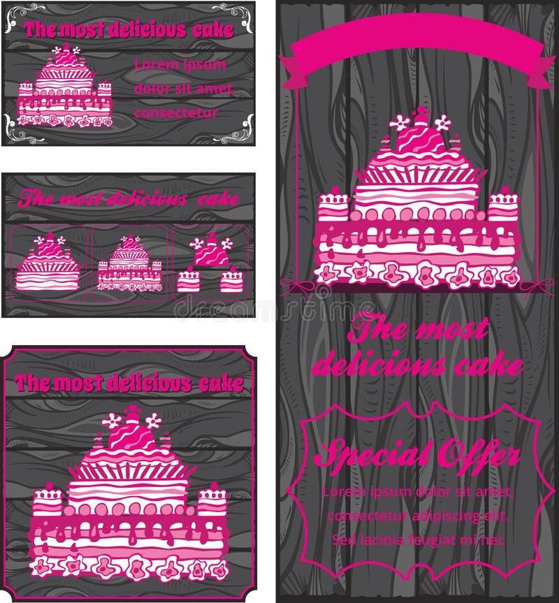 Tortowy loga, wizytówki i ulotki szablon, ilustracji