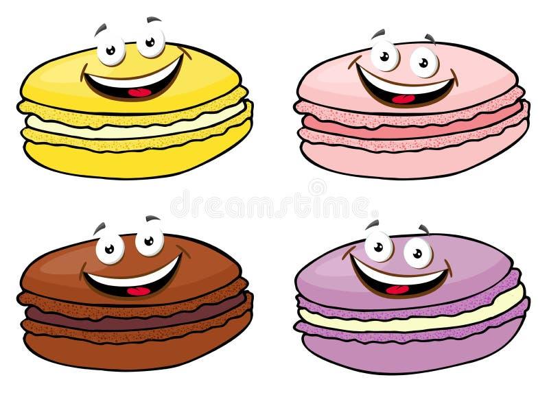Tortowy macaron lub macaroon ilustracji Wektorowy set, kolorowi migdałowi ciastka, pastelowi kolory postać z kreskówki śmieszne royalty ilustracja