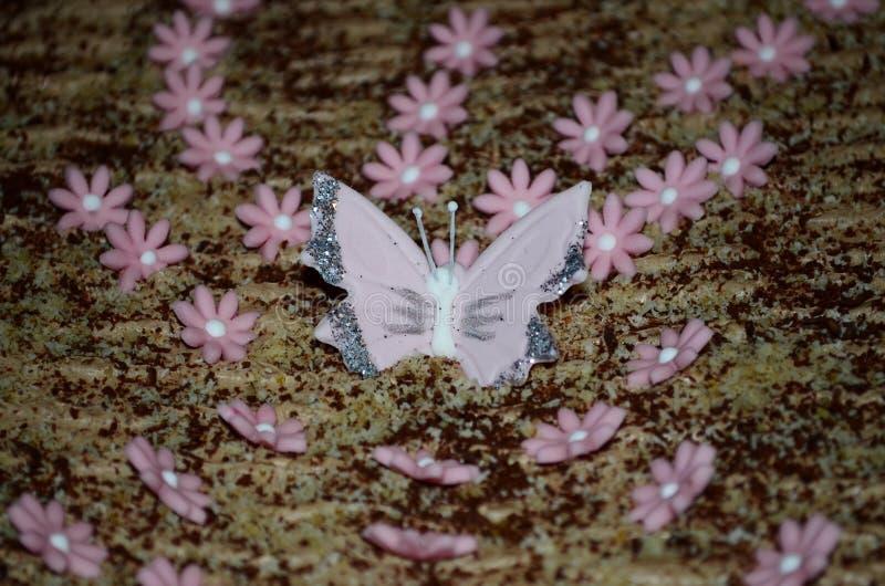 Tortowy odgórny widok z dekoracjami motylimi i kwiatami zdjęcia stock