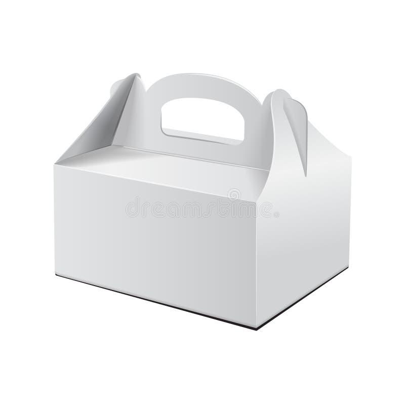 Tortowy pudełko Dla fasta food, prezenta, etc, Niesie Pakować Wektorowy mockup Biały szablon Kartonowy pakunek royalty ilustracja