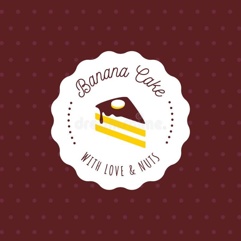 Tortowy wektorowy logo w rocznika stylu Deserowa ilustracja Piekarni etykietki projekt, słodka ciasto sklepu ikona ilustracja wektor