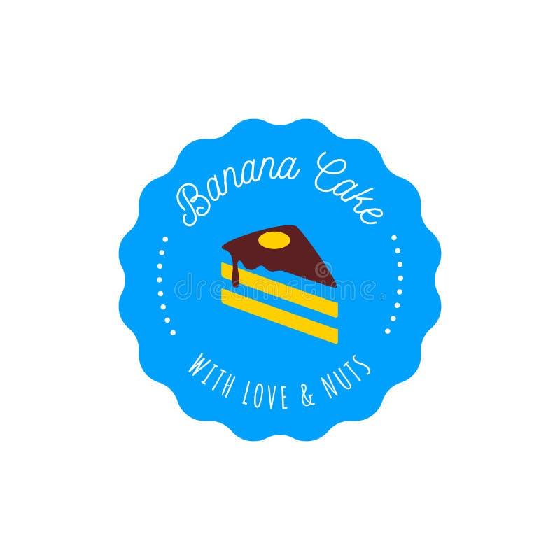 Tortowy wektorowy logo w rocznika stylu Deserowa ilustracja Piekarni etykietki projekt, słodka ciasto sklepu ikona royalty ilustracja