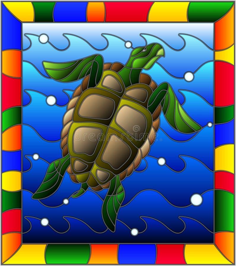 Tortue d'illustration en verre souillé dans les vagues et les bulles d'air dans un cadre lumineux illustration stock