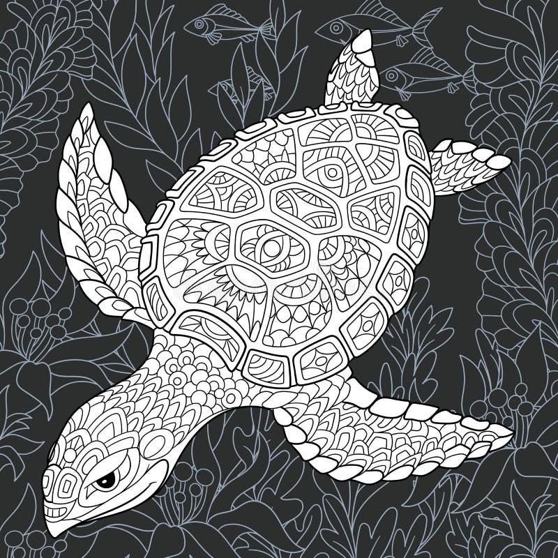 Tortue dans le style noir et blanc illustration stock