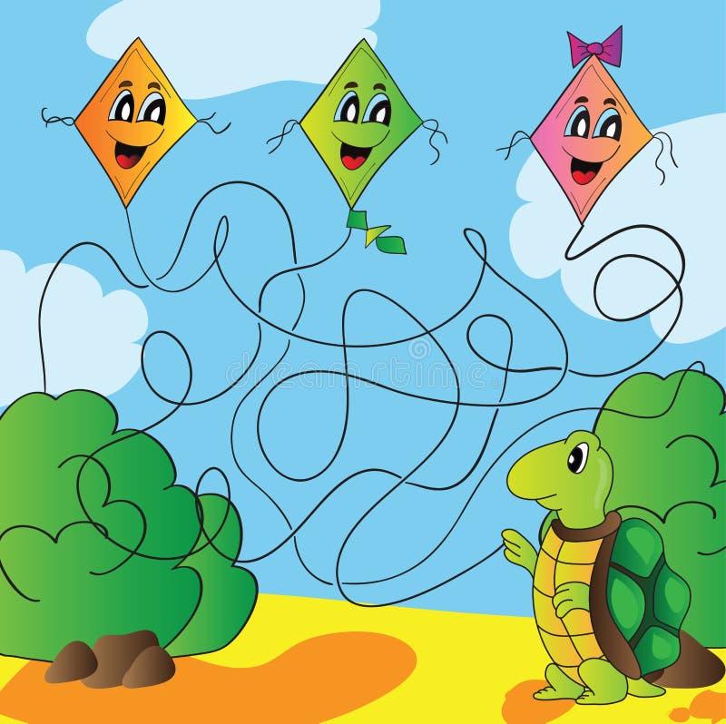 Tortue de labyrinthe avec un cerf-volant illustration libre de droits