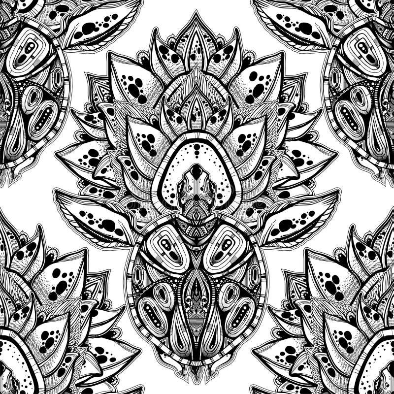 Tortue de mer tribale fleurie dans le style polynésien indigène avec un modèle sans couture de fleur de lotus illustration de vecteur