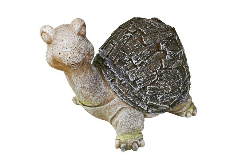 Tortue en céramique d'isolement sur le fond blanc Statue d'une tortue pour décorer le jardin d'isolement sur le fond blanc photo libre de droits