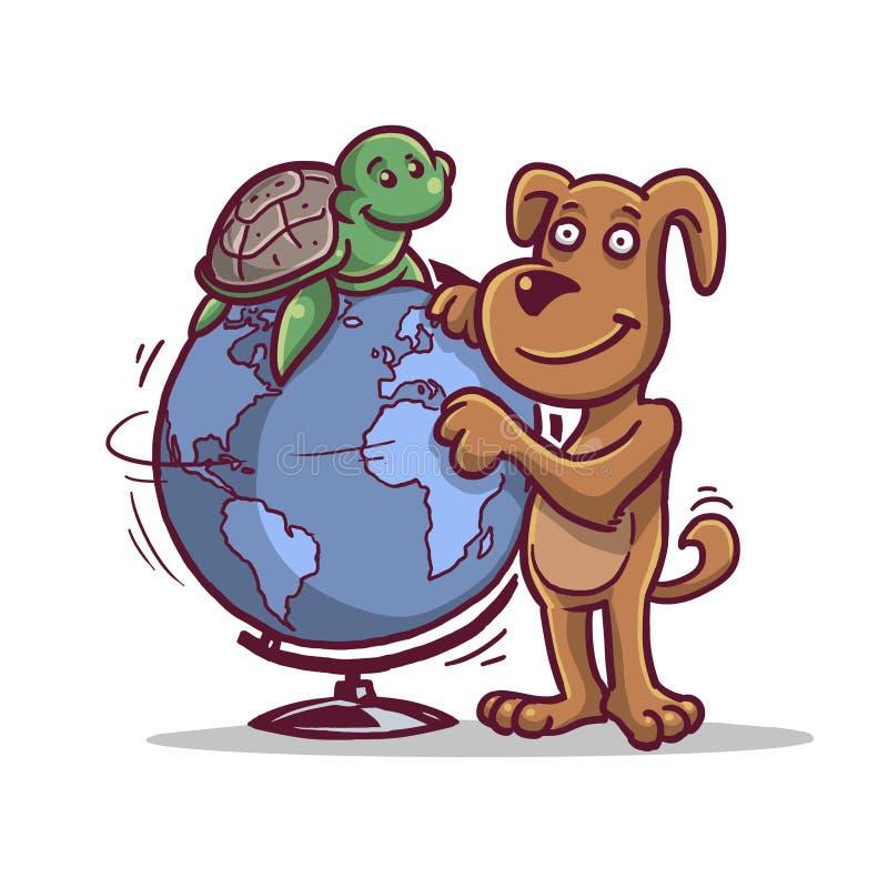 Tortue et chien heureux sur le globe images libres de droits