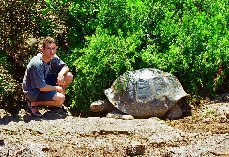 Tortue et touriste de Galapagos images libres de droits