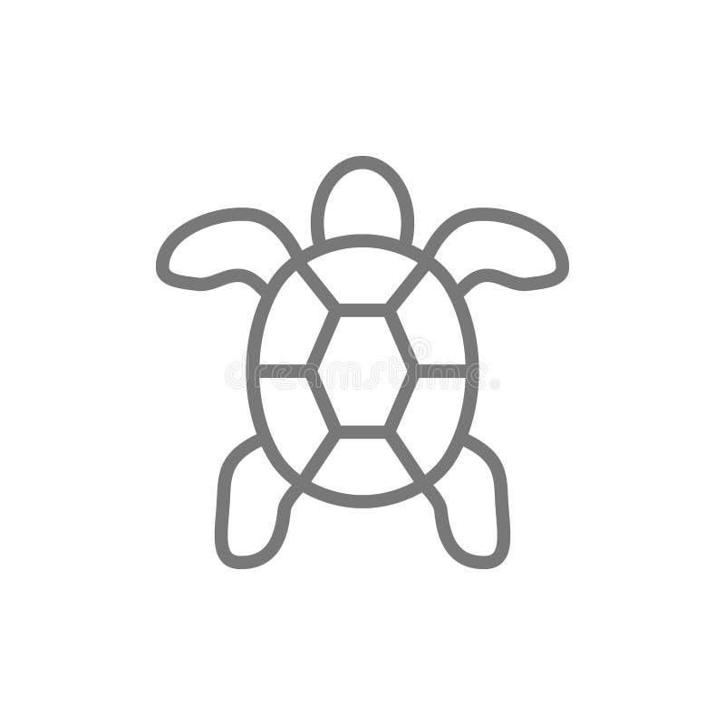 Tortue, ligne animale aquatique icône illustration libre de droits