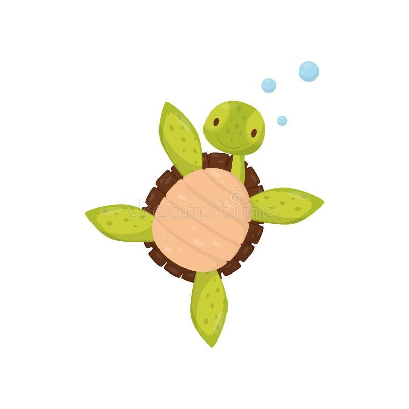 Tortue mignonne de natation Personnage de dessin animé de reptile marin Thème de la vie de mer et d'océan Élément plat de vecteur illustration stock