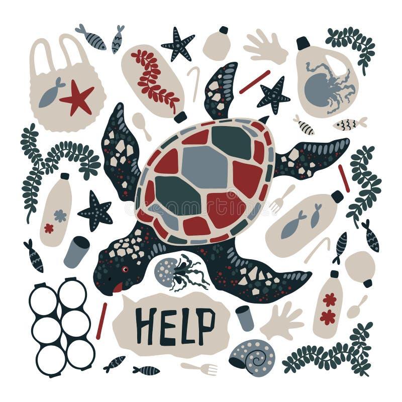 Tortue tirée par la main plate de vecteur entourée par les ordures et les déchets marins illustration stock
