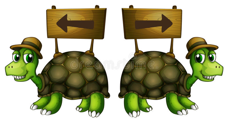 Tortues portant les enseignes en bois illustration stock