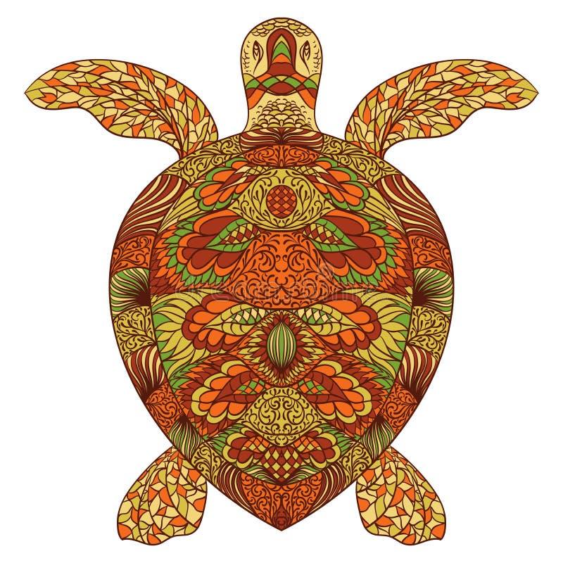 Tortuga adornada con los ornamentos orientales Ilustración drenada mano del vector ilustración del vector