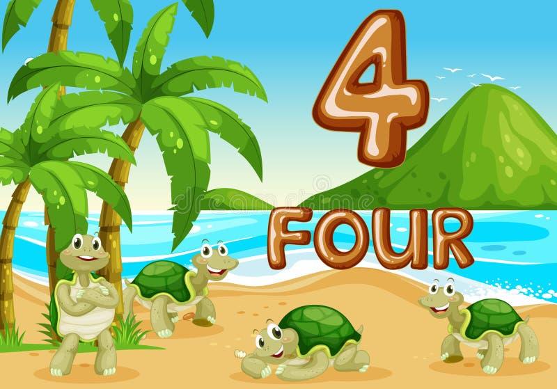 Tortuga cuatro en la playa ilustración del vector