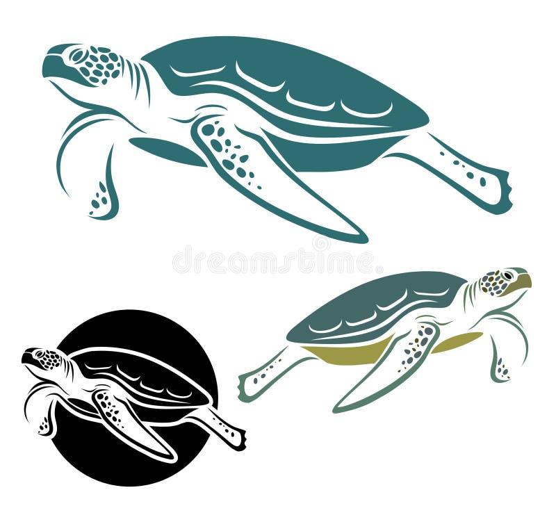 Tortuga de mar stock de ilustración