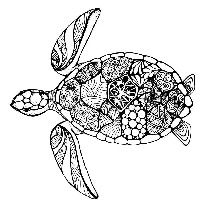 Tortuga de mar en el estilo del zentangle fotos de archivo