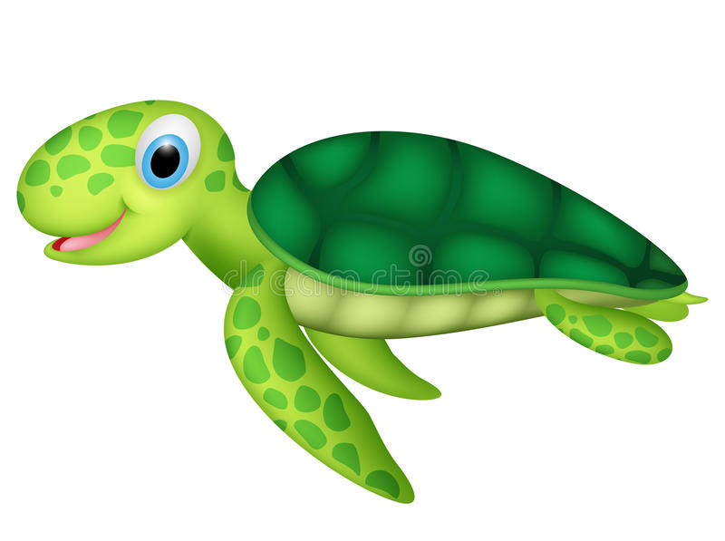 Tortuga de mar feliz del bebé stock de ilustración