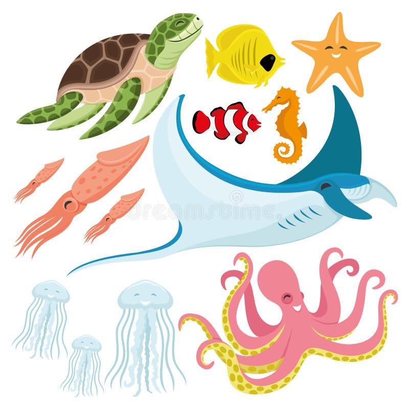 Tortuga de mar, pescados, estrellas de mar, seahorse, calamar, pastinaca, medusas, y pulpo stock de ilustración