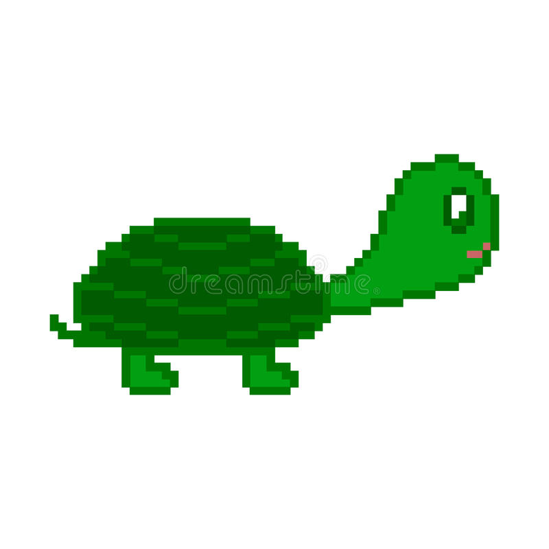 Tortuga del pixel en el fondo blanco stock de ilustración