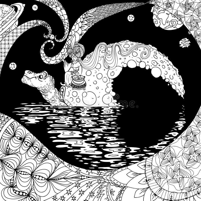 Tortuga-luna stock de ilustración