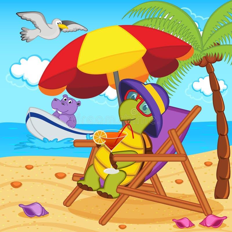Tortuga que bebe un cóctel en un sillón en la playa ilustración del vector