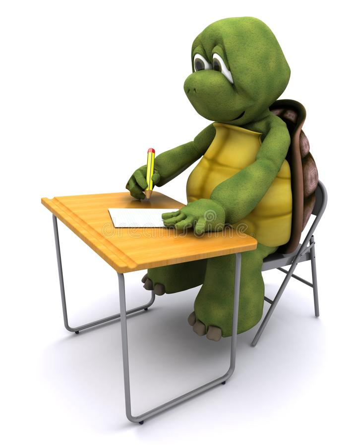 Tortuga sentada en el escritorio de la escuela stock de ilustración