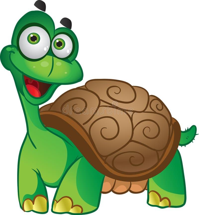 Tortuga sonriente de la diversión en un blanco ilustración del vector