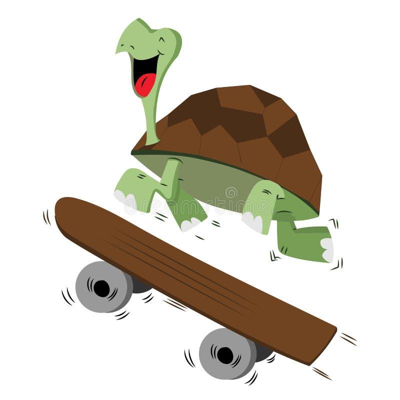 Tortuga sonriente feliz que corre con un monopatín para el concepto de la velocidad stock de ilustración