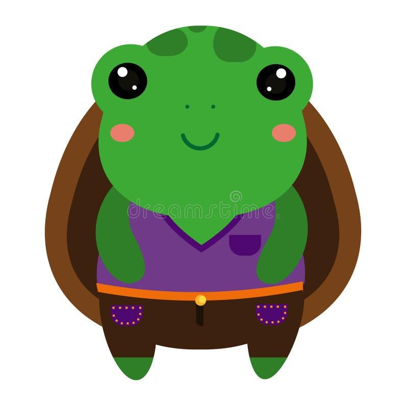Tortuga verde linda Carácter del animal del kawaii de la historieta stock de ilustración