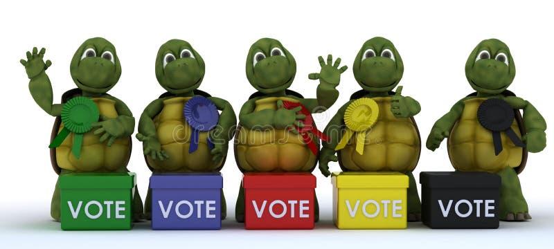 Tortugas canvasing para los votos en la elección ilustración del vector