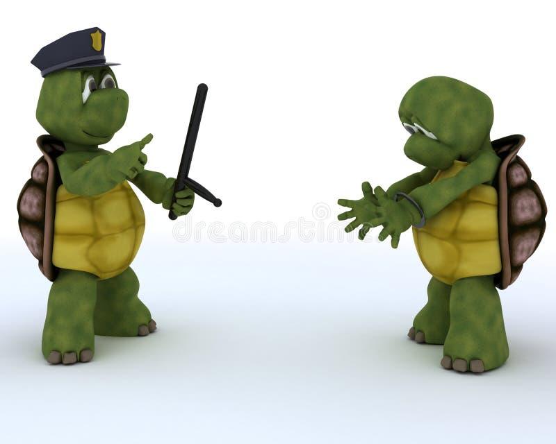 Tortugas como polis y ladrones ilustración del vector