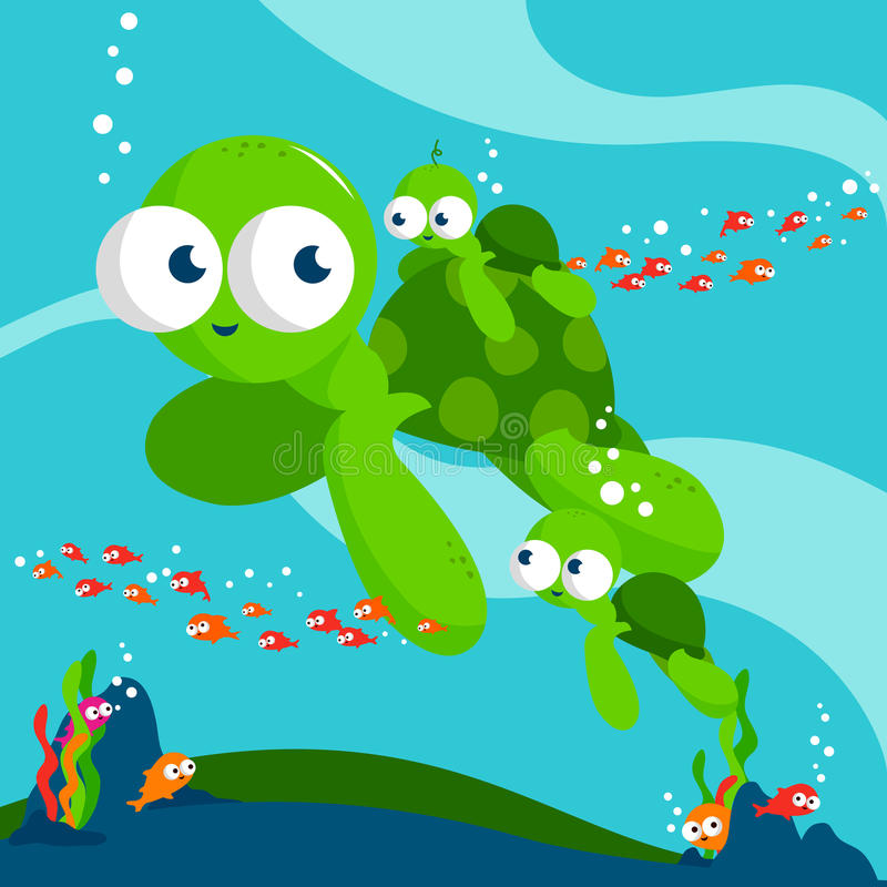 Tortugas de mar ilustración del vector